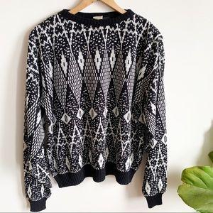 Vtg Sears Geometric Schitt's Creek Knit Sweater M